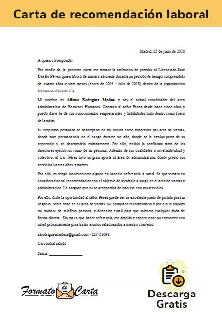 carta de referencia laboral